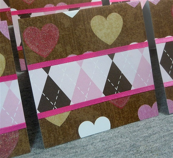Hearts and Argyle Blank Cards WITH Envelopes 3x3 (8)