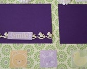 Too Cute Baby Girl Premade Page, 12 x 12, Angel, Purple Green & Yellow