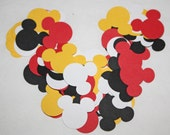 60 Yellow, Red, White and Black Handpunched Mouse Ears Confetti, Scrapbooking Embellishments, Medium Size
