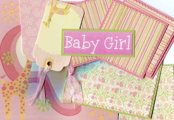 REDUCED// Super Cute Baby Girl Scrapbooking Premade Mat Set Kit - 20 Piece, Sewn Mats -- Can be used as Photo Postcards, Greeting Cards
