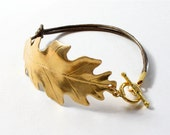 Gold Oak Leaf Bracelet with leather