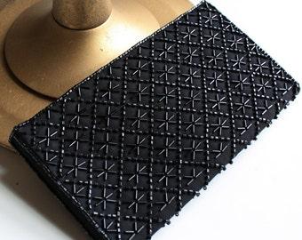 Vintage Black Beaded La Regale Purse 1950s Formal Elegant Evening Clutch Handbag