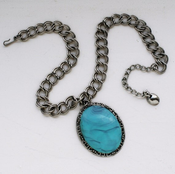 Vintage Turquoise Necklace - Large Statement Pendant