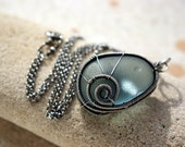 NORTH FOG wire wrapped seaglass necklace.