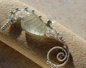 WHITE seahorse wire wrapped seaglass pendant.