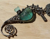 TEAL seahorse wire wrapped seaglass necklace.