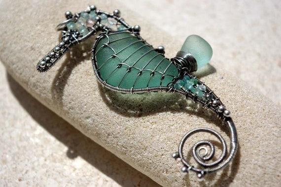 20% OFF. AQUA TEAL seahorse wire wrapped seaglass pendant.