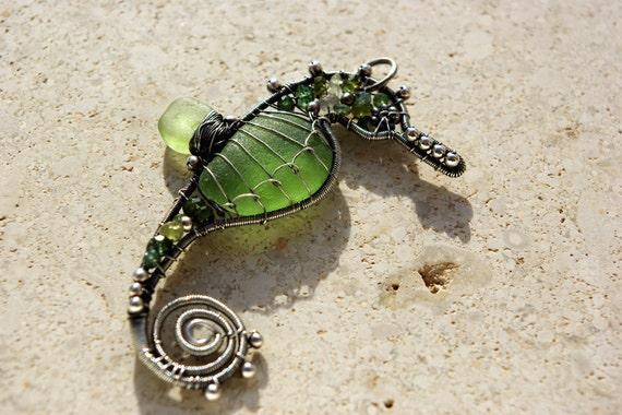 TINY OLIVE seahorse wire wrapped seaglass pendant.