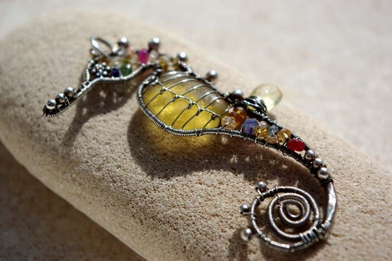 YELLOW seahorse wire wrapped seaglass pendant.
