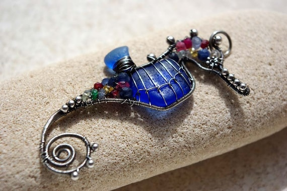 BLUE seahorse wire wrapped seaglass pendant.