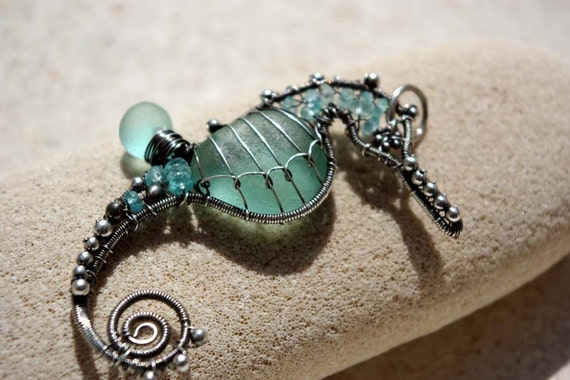 RESERVED for Paula. AQUA TEAL seahorse wire wrapped seaglass pendant.