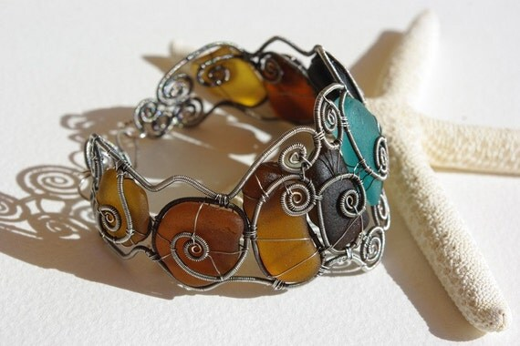 TURKISH DELIGHT. Wire wrapped seaglass bangle. As featured on X-RAY International Dive Magazine.