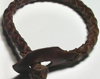 Leather Bracelet Wristband Cuff --  Celtic Round Spanish Leather Wristband, Handmade
