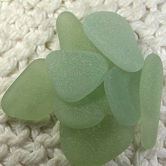 8 Gorgeous Aqua and Green Tint Seafoam Pendant Charm Size Sea Glass Gems (SG997) Pristine Sea Glass