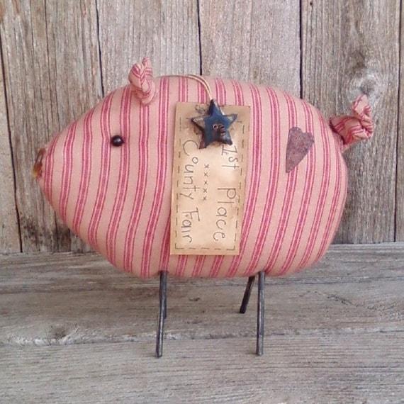 Oscar the County Fair Pig, Sow, Farm Animal, Stripes, Barnyard, Country, Primitive, Rustic Decor, Pink, Tan, Homespun, Star, Heart