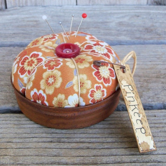 Golden Brown Oriental Floral Pincushion