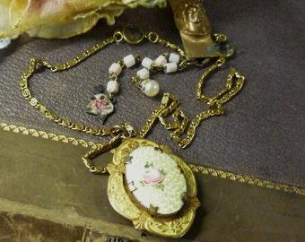 Guilloche Love Affair OOAK Assemblage Art Necklace Antique Vintage Components