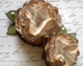 2) Vintage Paper Flowers with Tulle. - Cream - Combo