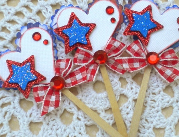 Sweet Lollipop Embellishments- Patriotic- Bomb Pop- Red, White, and Blue
