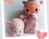 Baby in piggy suit and piggybank pdf pattern english and italiano