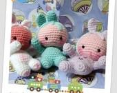 Newborns in bunny suit amigurumi pdf pattern english and italiano