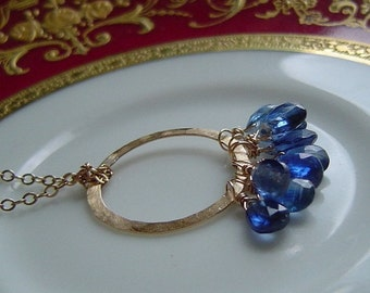 Royal Blue Kyanite Pendant Necklace . Briolettes on Hammered Gold Circle, Bridal Party, Bridesmaids, Mothers, Gift