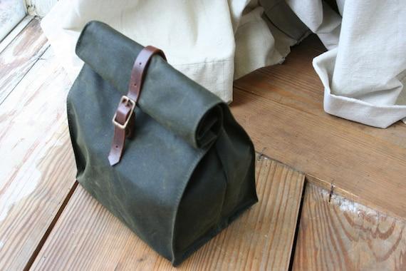 Dark Green Waxed Canvas Lunch Bag
