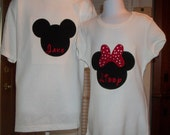 Mickey or Minnie mouse silhouette shirt