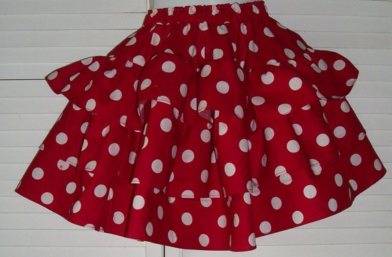 Adult Red with White polka dot Ruffle Twirl Skirt
