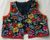 Floral quilted vest, for gypsy costume or a colorful accessory, lined with cozy wool plaid, one of a kind, lightly used