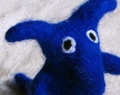 Beastie, fantasy creature needle felted from pure wool, deep royal cobalt blue