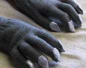Gloves with nails, for costume or dress up, charcoal gray and silver, stretch knit, one size