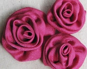 Fabric roses for applique, decorating, hair accessories, crafts, in silky hot pink, set of 3