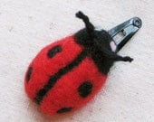Ladybug hair clip - makes great stocking stuffer, needle felted in bright red and black from pure wool