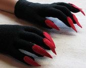 Gloves with claws, black and red, for Halloween costume or pretend play, one size stretch glove