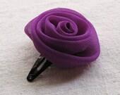 Rose hair clip, in magenta purple chiffon, small
