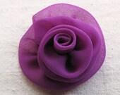 Rose hair clip, medium size, handcrafted rosette in magenta purple chiffon