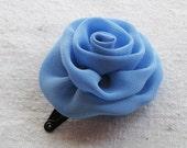 Rose hair clip, in sky blue chiffon, small
