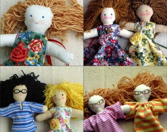 Custom doll, you choose hair, eyes, and skin colors, clothes, special features, design your own 10 inch cloth doll