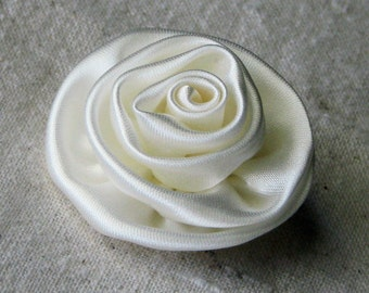 Ivory satin rose for applique and embellishment, plain back, 1 small