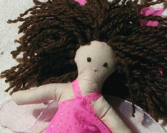 Fairy doll, small cloth doll in a sparkly hot pink dress with brown hair and fairy wings, 6 inch