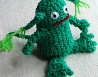 Monster toy, bright kelly green crochet, 4.5 inch tall, child friendly