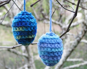 Easter egg ornaments, crocheted in shades of blue, set of 2