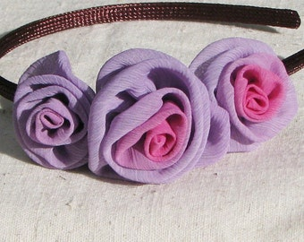 Fabric rose headband, with 3 lavender and pink chiffon rosettes, child size