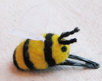 Bumblebee hair clip - wool bumblebee needle felted in bright yellow and black, great stocking stuffer