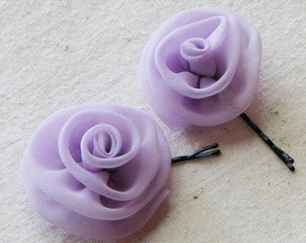 Rose bobby pins in pale lilac purple chiffon fabric, set of 2