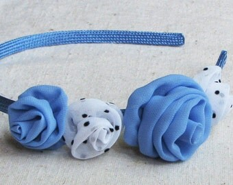 Rose headband, in lake blue and polka dot white fabric, child size