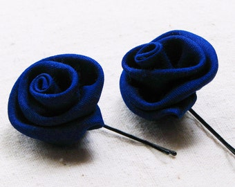 Rose bobby pins in deep cobalt blue silk fabric, set of 2