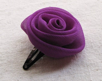 Rose hair clip, in magenta purple chiffon, small