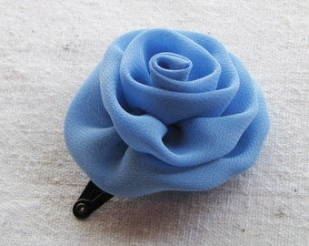 Rose hair clip, in sky blue chiffon, small